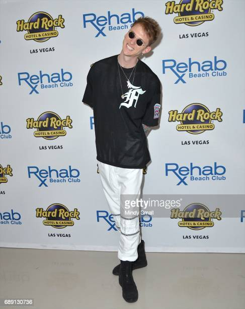 Rapper Machine Gun Kelly arrives at the Rehab Beach Club pool party at the Hard Rock Hotel Casino on May 27 2017 in Las Vegas Nevada