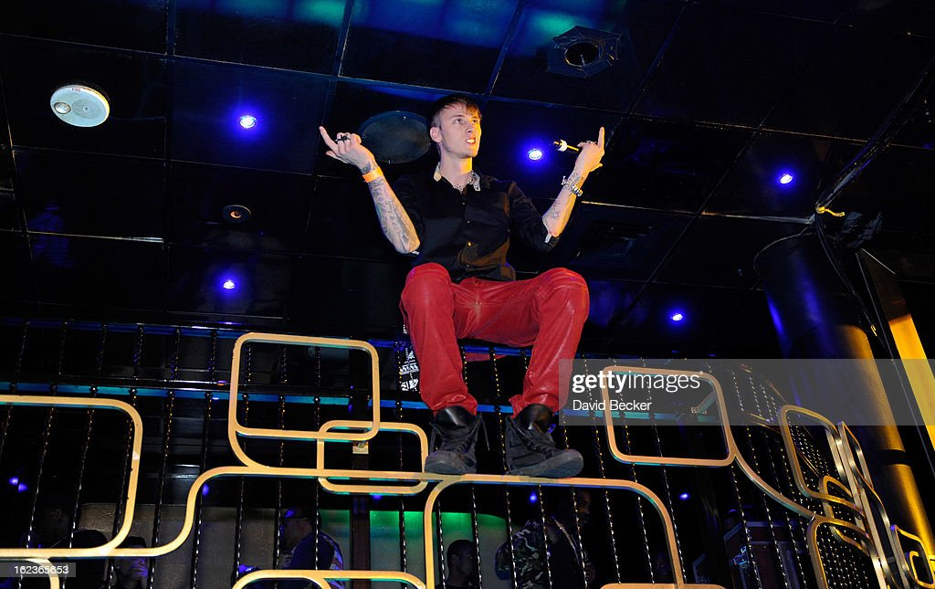 Rapper Machine Gun Kelly (MGK) performs at the Puma party at The Bank Nightclub at the Bellagio on February 19, 2013 in Las Vegas, Nevada.