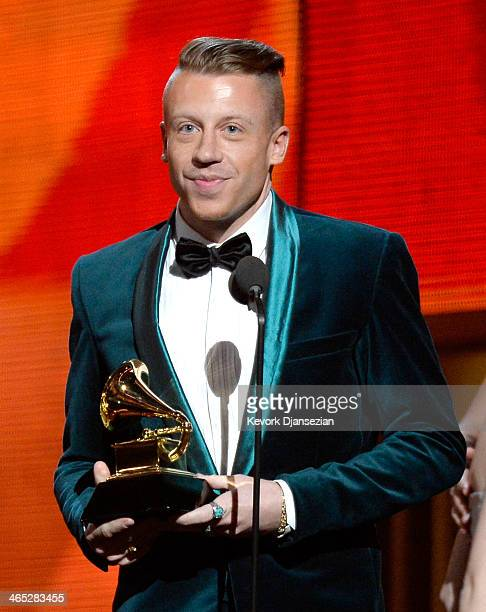 Rapper Macklemore accepts the Best New Artist award onstage during the 56th GRAMMY Awards at Staples Center on January 26 2014 in Los Angeles...