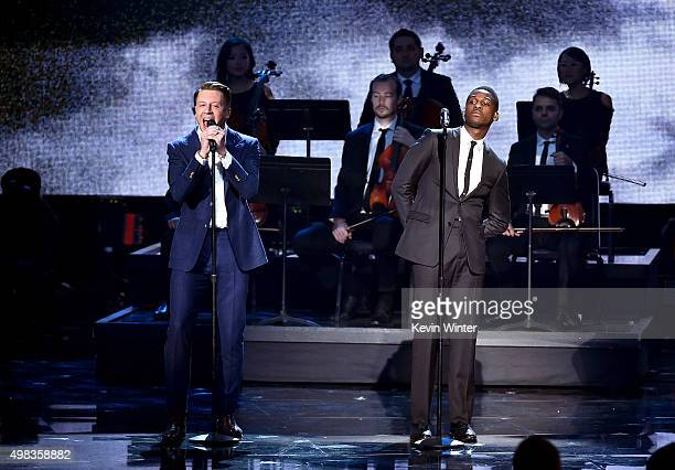 Rapper Macklemore and singer Leon Bridges perform onstage during the 2015 American Music Awards at Microsoft Theater on November 22 2015 in Los...