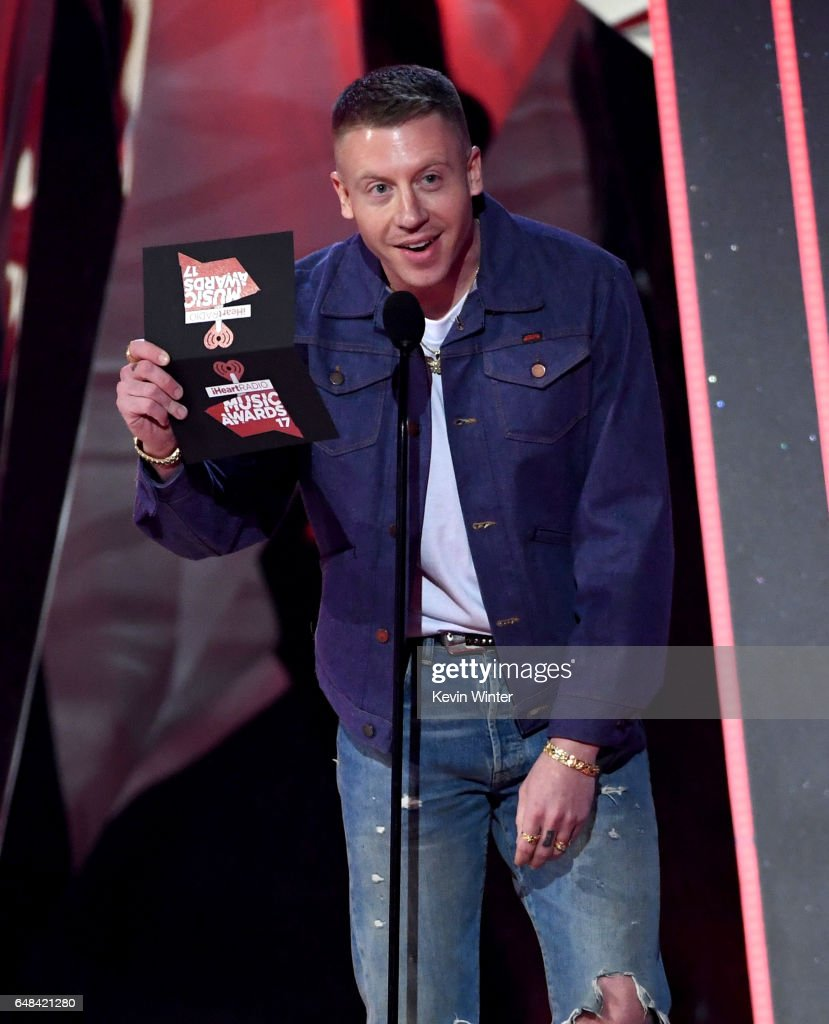 Rapper Macklemore speaks onstage at the 2017 iHeartRadio Music Awards which broadcast live on Turner's TBS, TNT, and truTV at The Forum on March 5, 2017 in Inglewood, California.