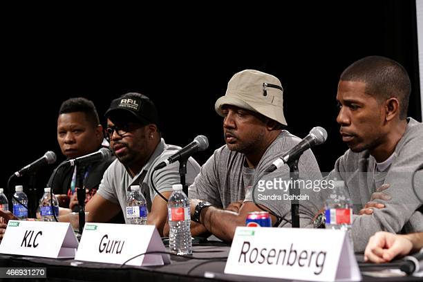 Rapper Mannie Fresh Record Producer Just Blaze music producer KLC and Audio Engineer Young Guru speak onstage at ''Building The Beat A Conversation...