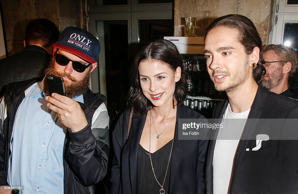 Rapper MC Fitti, singer Lena Meyer-Landrut and Tom Kaulitz, guitarist of the band Tokio Hotel and brother of Bill during the photo art exhibition and book launch of BILLY at Seven Star Gallery on May 4, 2016 in Berlin, Germany.