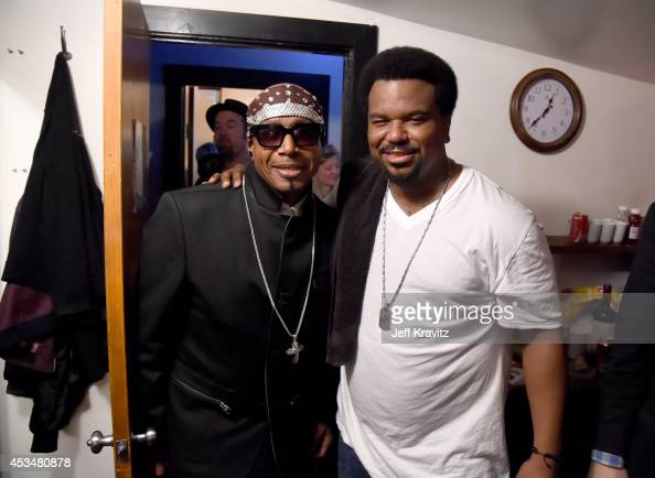 Rapper MC Hammer and Craig Robinson pose backstage at the Outside Lands Kool the Gang Superjam at The Independent on August 10 2014 in San Francisco...