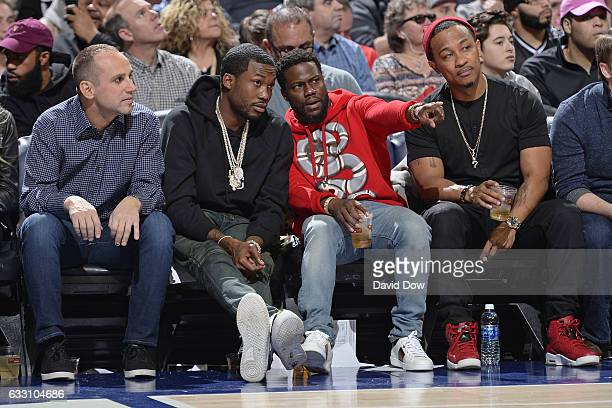 Rapper Meek Mill and Comedian Kevin Hart watch the Houston Rockets game against the Philadelphia 76ers at Wells Fargo Center on January 27 2017 in...