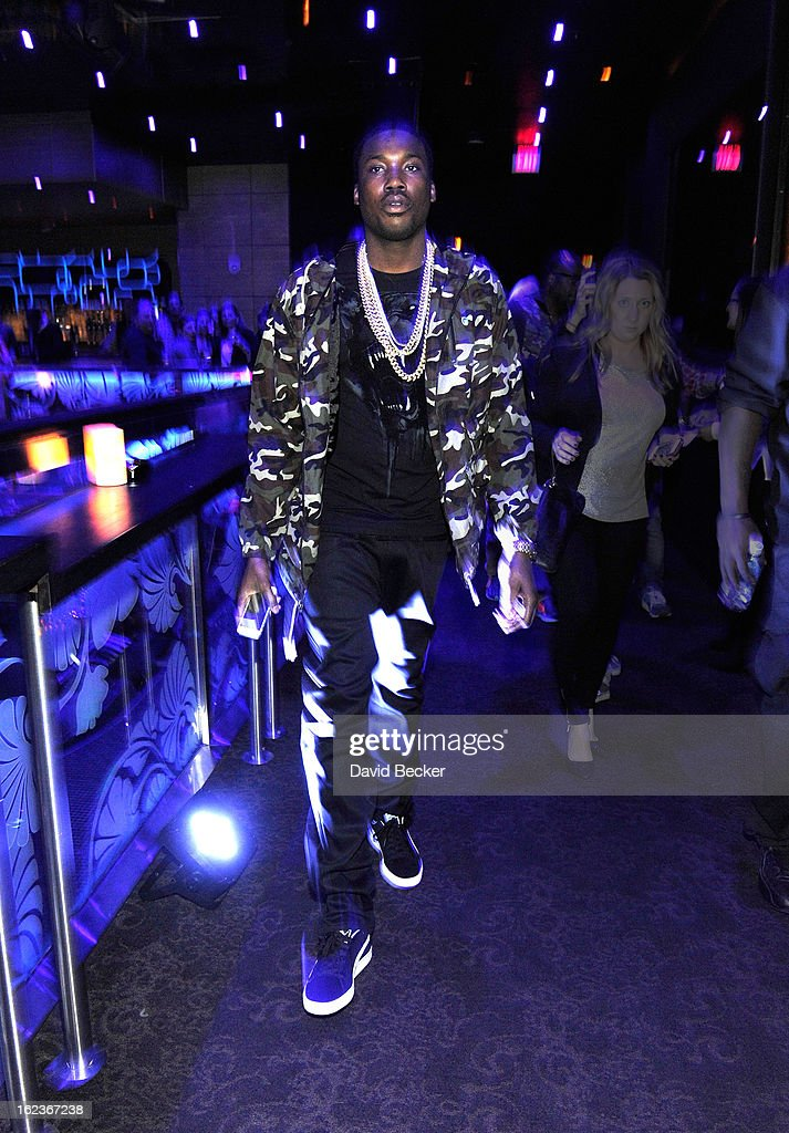 Rapper <a gi-track='captionPersonalityLinkClicked' href=/galleries/search?phrase=Meek+Mill&family=editorial&specificpeople=7187702 ng-click='$event.stopPropagation()'>Meek Mill</a> attends the Puma party at The Bank Nightclub at the Bellagio on February 19, 2013 in Las Vegas, Nevada.