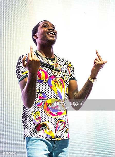 Rapper Meek Mill performs at DTE Energy Center during The Pinkprint Tour on July 31 2015 in Clarkston Michigan
