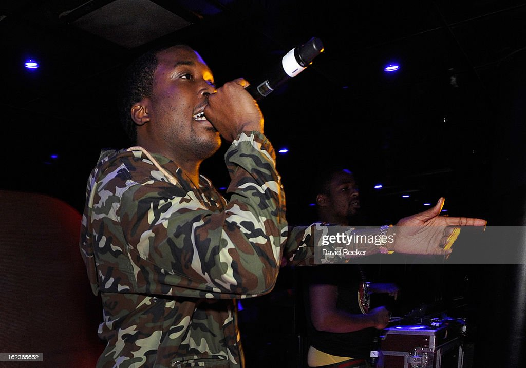 Rapper <a gi-track='captionPersonalityLinkClicked' href=/galleries/search?phrase=Meek+Mill&family=editorial&specificpeople=7187702 ng-click='$event.stopPropagation()'>Meek Mill</a> performs at the Puma party at The Bank Nightclub at the Bellagio on February 19, 2013 in Las Vegas, Nevada.