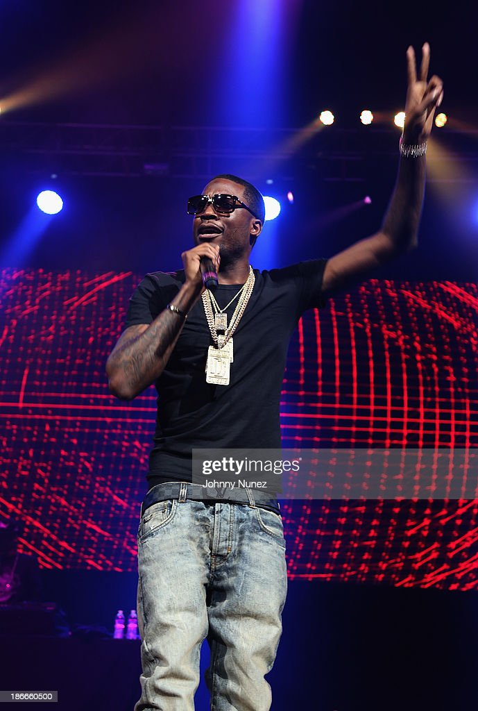 Rapper <a gi-track='captionPersonalityLinkClicked' href=/galleries/search?phrase=Meek+Mill&family=editorial&specificpeople=7187702 ng-click='$event.stopPropagation()'>Meek Mill</a> performs onstage at Power 105.1's Powerhouse 2013, presented by Play GIG-IT, at Barclays Center on November 2, 2013 in New York City.