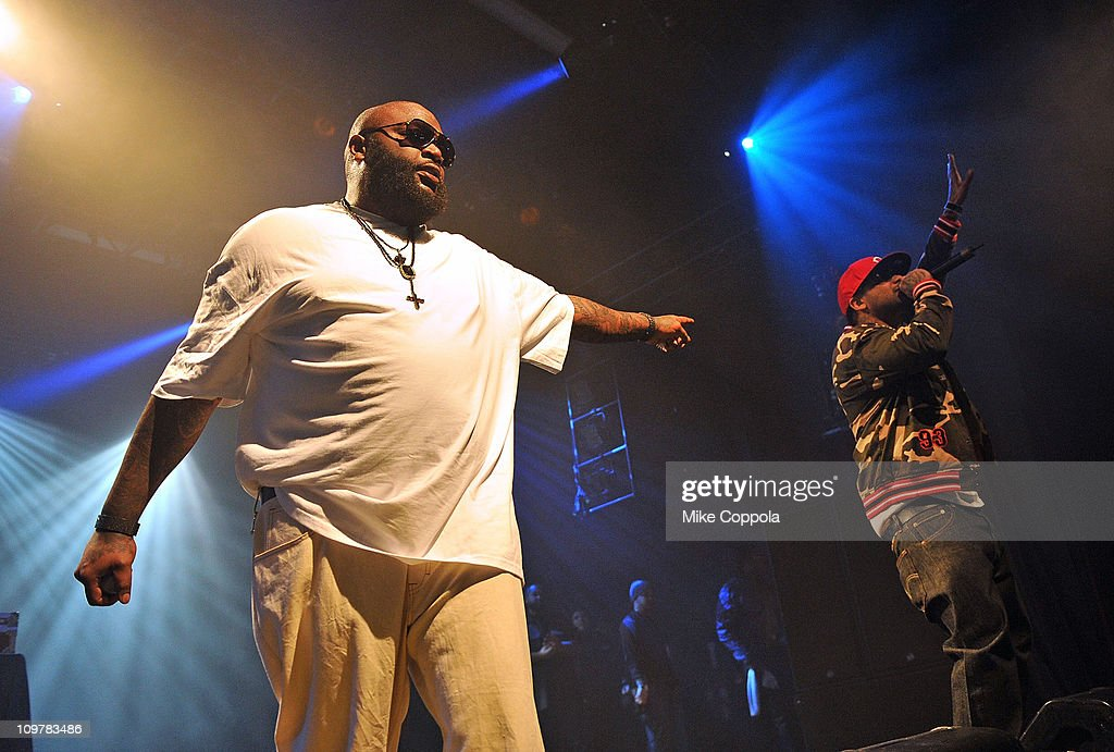 Rapper Meel Mill (R) and Rick Ross perform at the Best Buy Theater on March 4, 2011 in New York City.