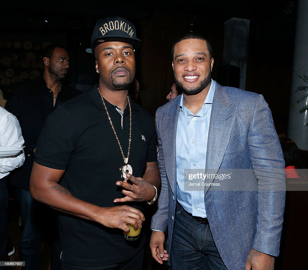 Rapper Memphis Bleek and New York Yankee Robinson Cano attend the Baron Tequila Launch Party at Butter Restaurant on November 19, 2013 in New York City.