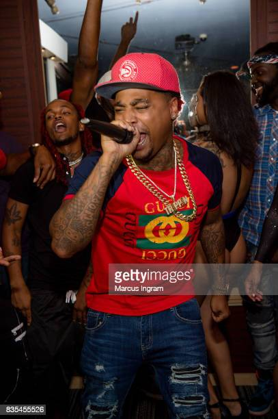 Rapper Mike 'ZanMan Trippin' Francis performs during his private listening party at Soul Asylum Studios Atlanta on August 18 2017 in Atlanta Georgia