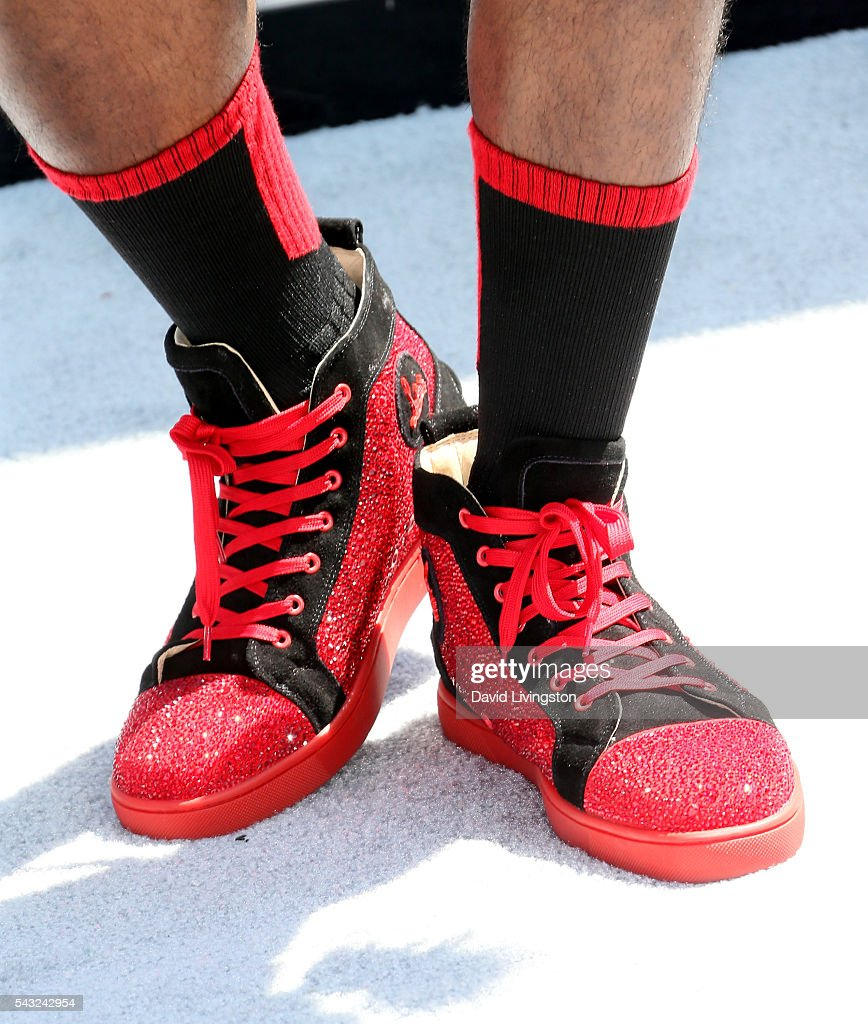 Rapper Milan Christopher, shoe detail, attends the 2016 BET Awards at Microsoft Theater on June 26, 2016 in Los Angeles, California.