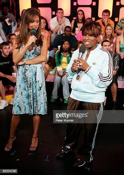 Rapper Missy Elliot and MTV VJ Vanessa Minnillo make an appearance on MTV's Total Request Live on July 6 2005 in New York City