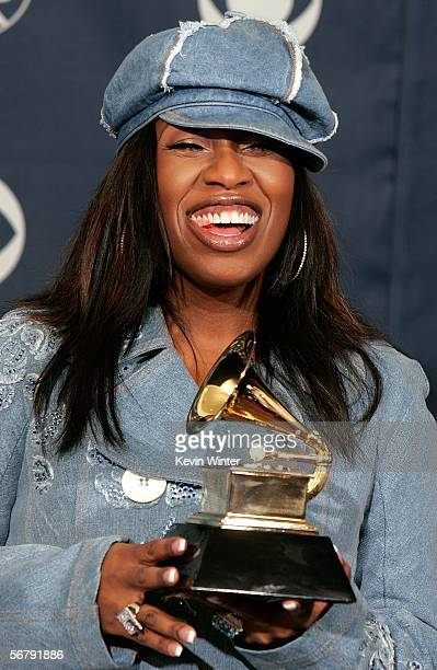 Rapper Missy Elliott poses with her Best Short Form Music Video in the press room at the 48th Annual Grammy Awards at the Staples Center on February...