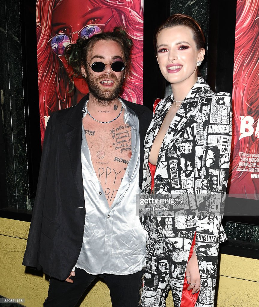 Rapper Mod Sun and Actress Bella Thorne attend the premiere of 'The Babysitter' at the Vista Theatre on October 11, 2017 in Los Angeles, California.