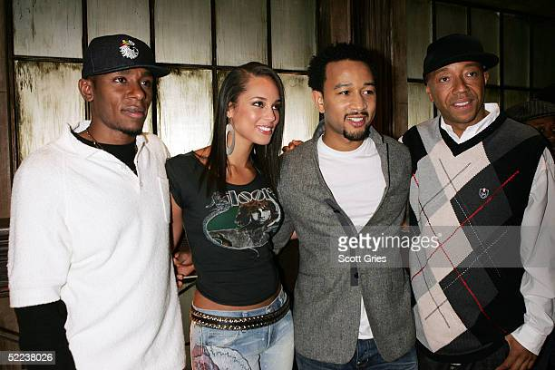 Rapper Mos Def musician Alicia Keys producer Russell Simmons and musician John Legend pose for a photo during rehearsals for HBO and Russell Simmons'...