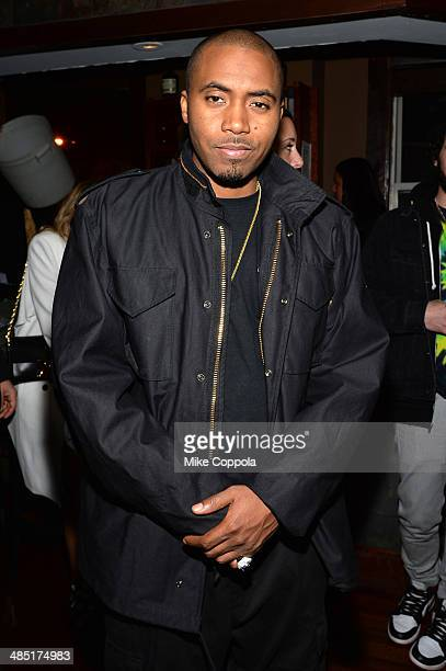 Rapper Nas attends the 'Time Is Illmatic' Premiere after party during the 2014 Tribeca Film Festival sponsored By Hennessy VS and Beats Music at...