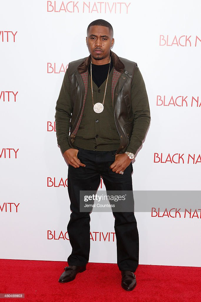 Rapper <a gi-track='captionPersonalityLinkClicked' href=/galleries/search?phrase=Nas&family=editorial&specificpeople=204627 ng-click='$event.stopPropagation()'>Nas</a> attends the'Black Nativity' premiere at The Apollo Theater on November 18, 2013 in New York City.