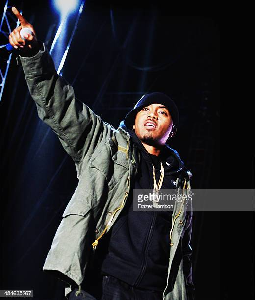 Rapper Nas performs onstage during day 2 of the 2014 Coachella Valley Music Arts Festival at the Empire Polo Club on April 12 2014 in Indio California
