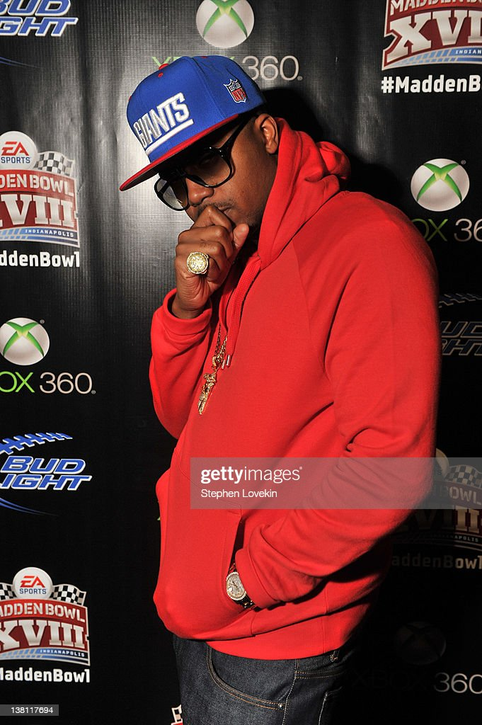 Rapper Nas stops by EA SPORTS Madden Bowl at the Bud Light Hotel before performing on February 2 2012 in Indianapolis Indiana