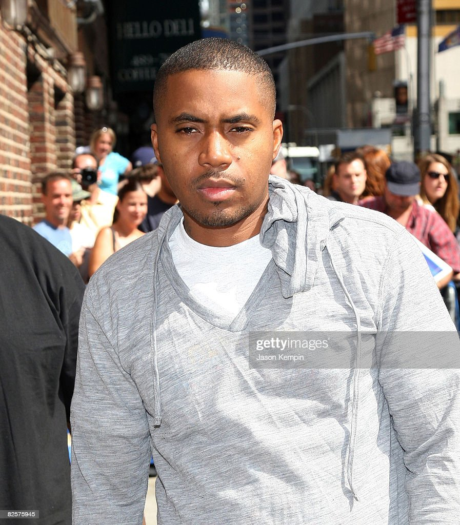 Rapper Nas visits the 'Late Show with David Letterman' at the Ed Sullivan Theater August 27, 2008 in New York City.