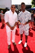Rapper Nelly and Luke James attend the BET AWARDS '14 at Nokia Theatre LA LIVE on June 29 2014 in Los Angeles California