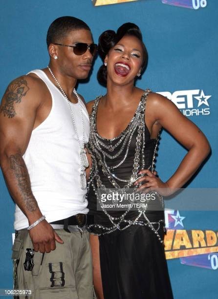 Rapper Nelly and Singer Ashanti in the press room at the 2008 BET Awards at the Shrine Auditorium on June 24 2008 in Los Angeles California