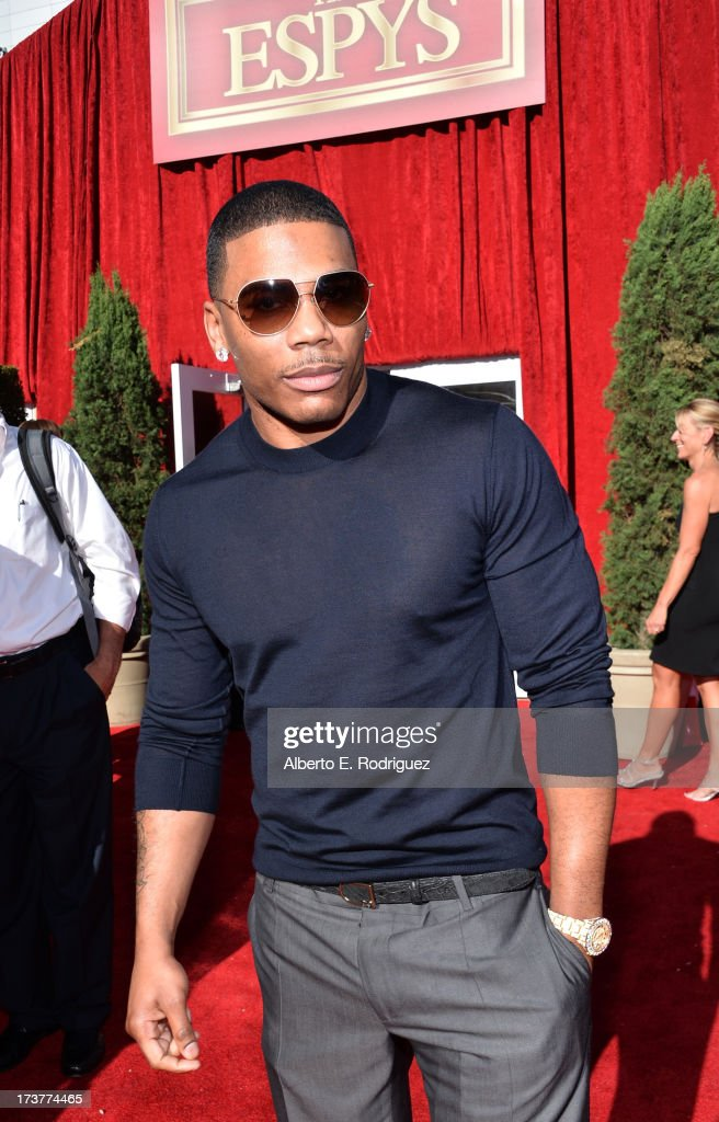 Rapper <a gi-track='captionPersonalityLinkClicked' href=/galleries/search?phrase=Nelly+-+Rappare&family=editorial&specificpeople=11499081 ng-click='$event.stopPropagation()'>Nelly</a> attends The 2013 ESPY Awards at Nokia Theatre L.A. Live on July 17, 2013 in Los Angeles, California.