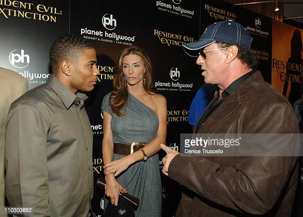 Rapper Nelly model Jennifer Flavin and actor Sylvester Stallone arrive at The World Premiere of Resident Evil Extinction at The Planet Hollywood...