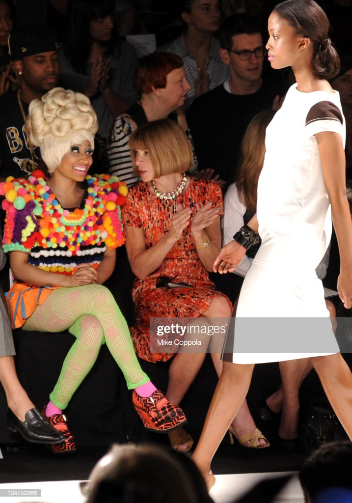 Rapper Nicki Minaj (L) and Editor-in-chief of American Vogue, Anna Wintour attend the Carolina Herrera Spring 2012 fashion show during Mercedes-Benz Fashion Week at The Theater at Lincoln Center on September 12, 2011 in New York City.