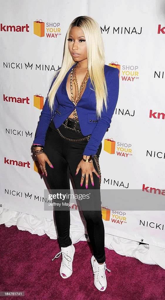 Rapper <a gi-track='captionPersonalityLinkClicked' href=/galleries/search?phrase=Nicki+Minaj+-+Performer&family=editorial&specificpeople=6362705 ng-click='$event.stopPropagation()'>Nicki Minaj</a> attends the Kmart and Shop Your Way launch of the <a gi-track='captionPersonalityLinkClicked' href=/galleries/search?phrase=Nicki+Minaj+-+Performer&family=editorial&specificpeople=6362705 ng-click='$event.stopPropagation()'>Nicki Minaj</a> Collection at Kmart on October 15, 2013 in Los Angeles, California.