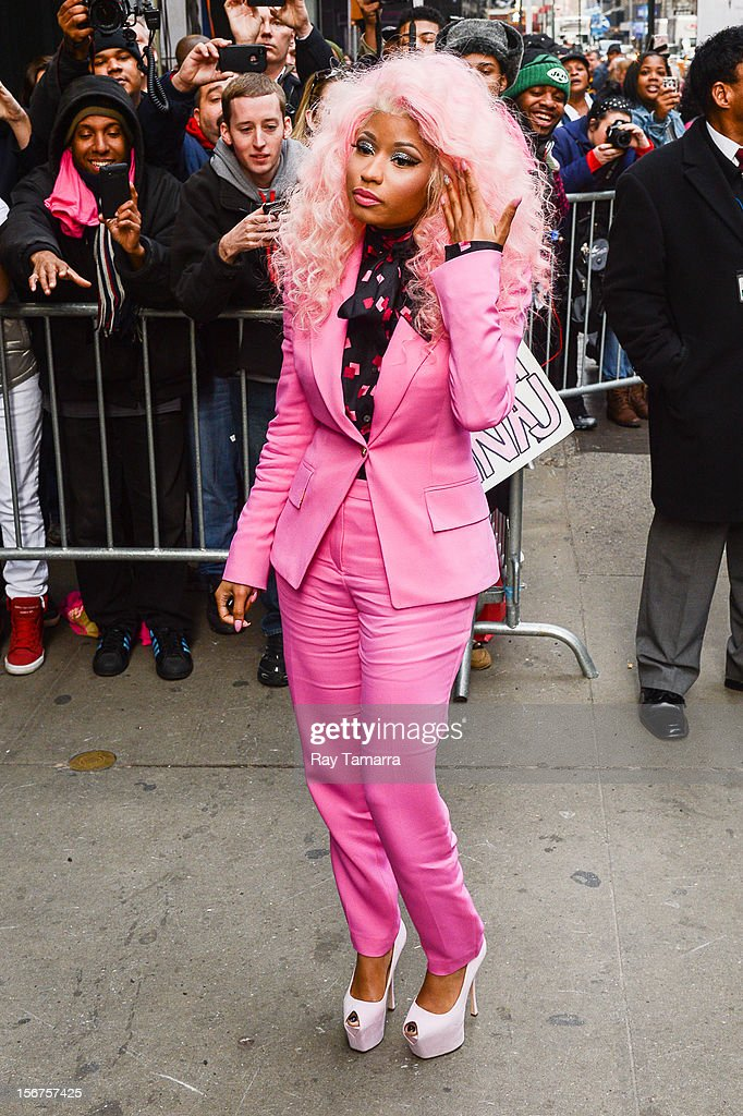 Rapper Nicki Minaj enters the 'Good Morning America' taping at the ABC Times Square Studios on November 20, 2012 in New York City.