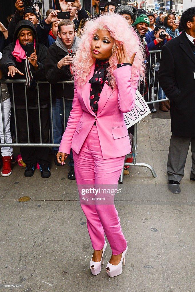 Rapper Nicki Minaj enters the 'Good Morning America' taping at the ABC Times Square Studios on November 20, 2012 in New York City.