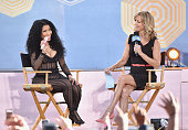 Rapper Nicki Minaj is interviewed by Journalist Lara Spencer on ABC's 'Good Morning America' at Rumsey Playfield Central Park on July 24 2015 in New...