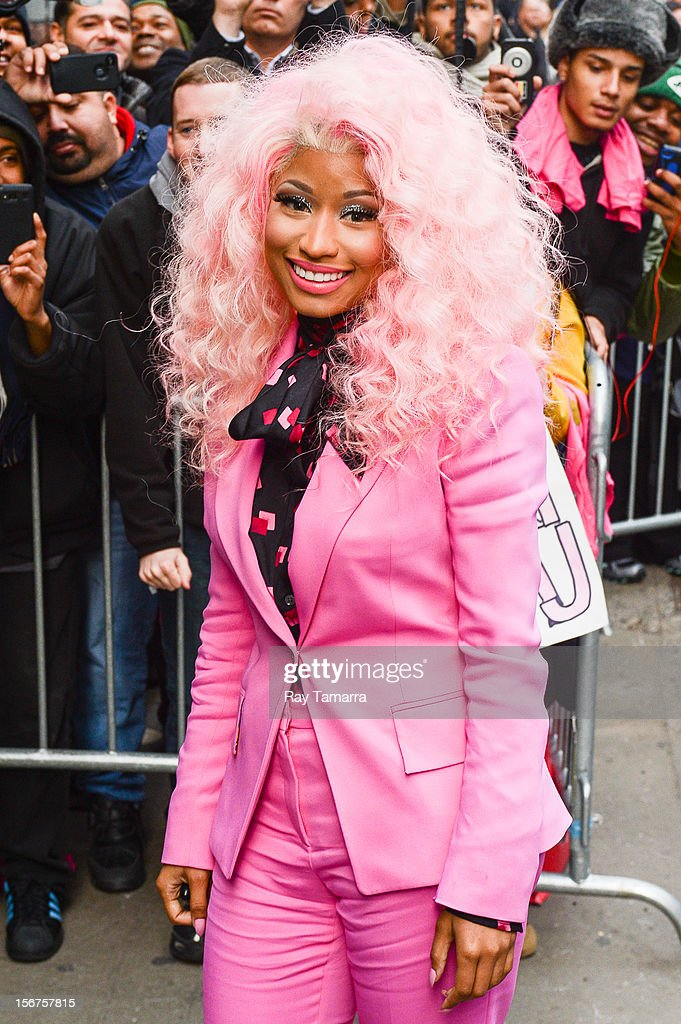 Rapper <a gi-track='captionPersonalityLinkClicked' href=/galleries/search?phrase=Nicki+Minaj+-+Artista&family=editorial&specificpeople=6362705 ng-click='$event.stopPropagation()'>Nicki Minaj</a> leaves the 'Good Morning America' taping at the ABC Times Square Studios on November 20, 2012 in New York City.