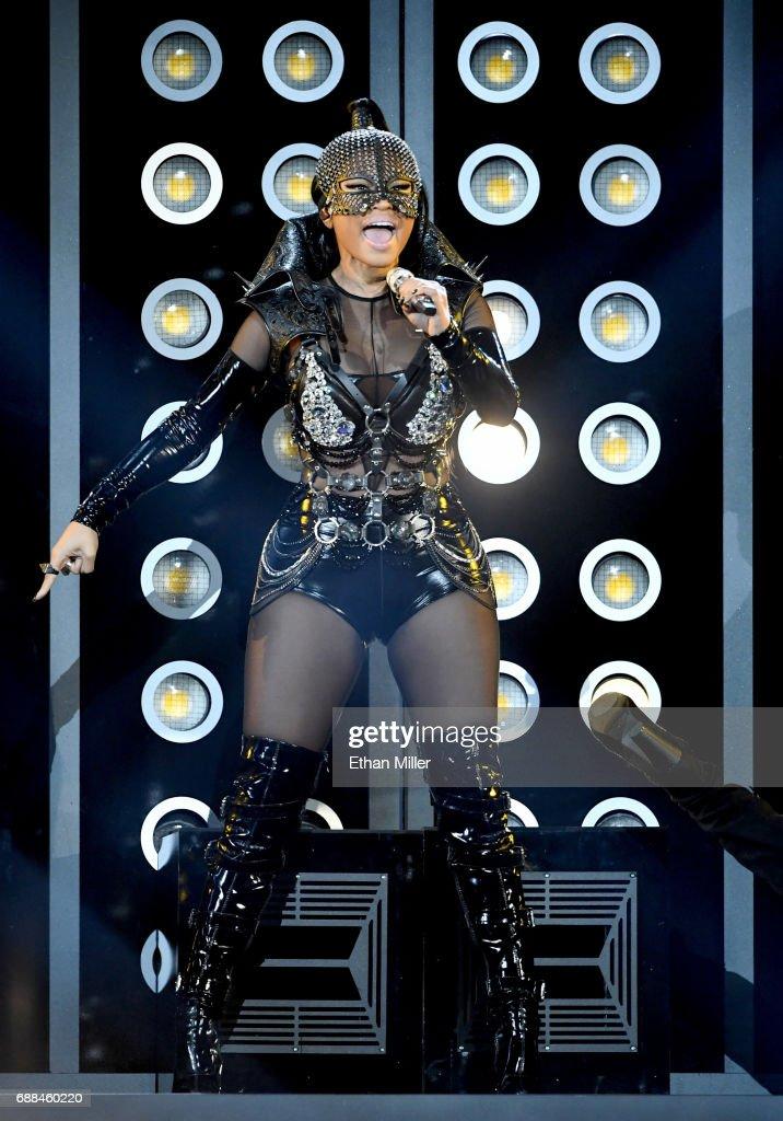 Rapper Nicki Minaj performs during the 2017 Billboard Music Awards at T-Mobile Arena on May 21, 2017 in Las Vegas, Nevada.