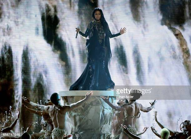 Rapper Nicki Minaj performs with dancers during the 2017 Billboard Music Awards at TMobile Arena on May 21 2017 in Las Vegas Nevada