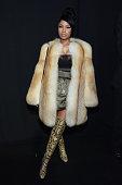 Rapper Nicki Minaj poses backstage at the Marc Jacobs fashion show during MercedesBenz Fashion Week Fall 2015 at Park Avenue Armory on February 19...