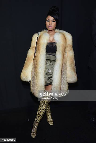 Rapper Nicki Minaj poses backstage at the Marc Jacobs fashion show during MercedesBenz Fashion Week Fall 2015 at Park Avenue Armory on February 19...