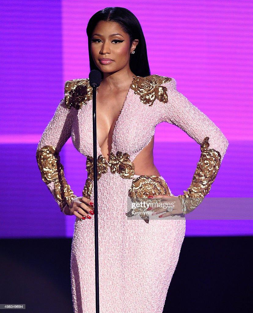 Rapper Nicki Minaj speaks onstage during the 2015 American Music Awards at Microsoft Theater on November 22 2015 in Los Angeles California