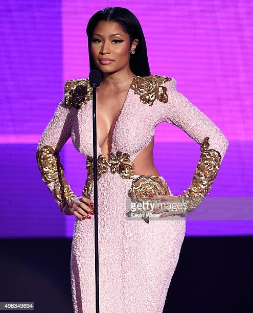 Rapper Nicki Minaj speaks onstage during the 2015 American Music Awards at Microsoft Theater on November 22 2015 in Los Angeles California
