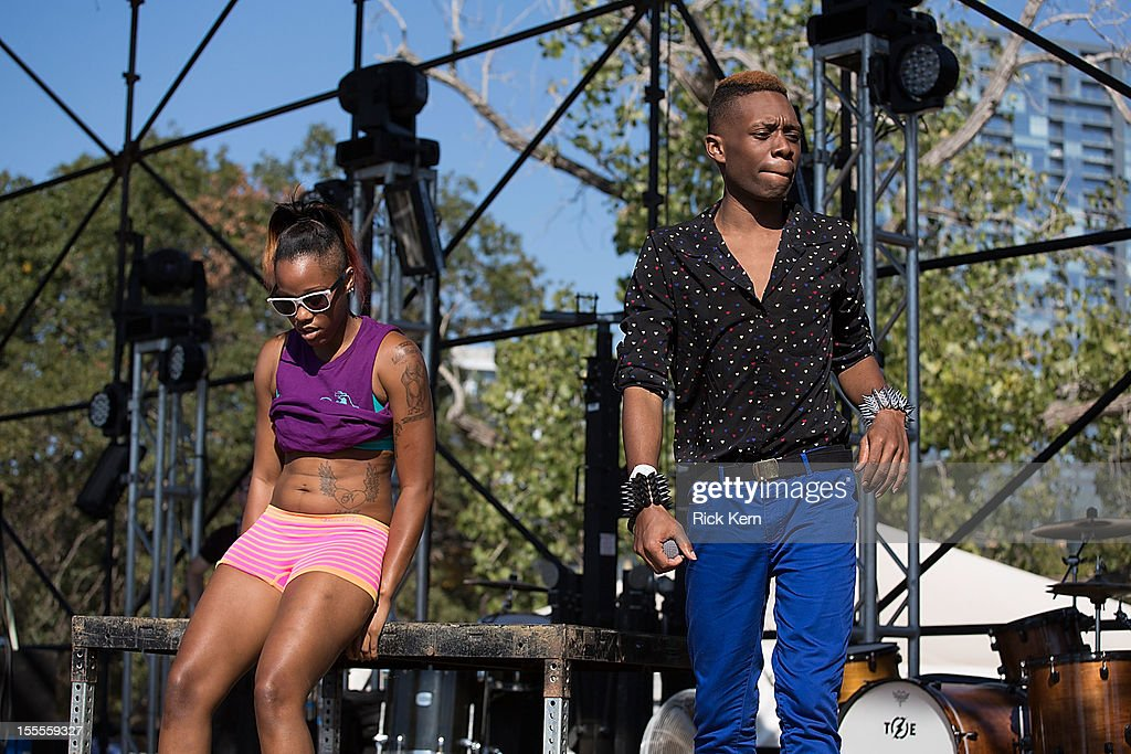 Rapper Nicky Da B (R) performs in concert during day three of Fun Fun Fun Fest at Auditorium Shores on November 4, 2012 in Austin, Texas.