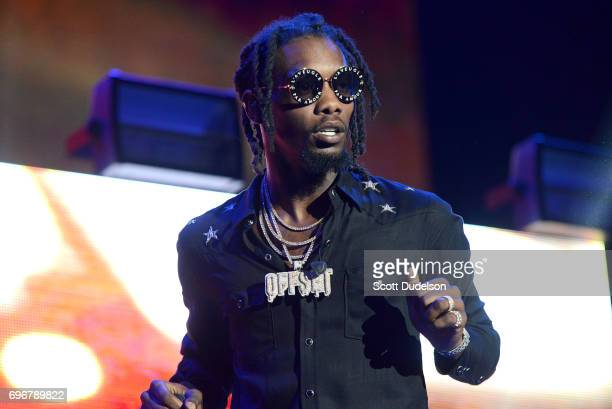 Rapper Offset of the hip hop trio Migos performs onstage during the 'Nobody Safe' tour at The Forum on June 14 2017 in Inglewood California