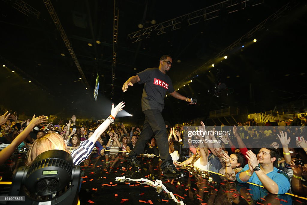 Rapper P. Diddy greets the crowd during the Sprint NBA All-Star Pregame Concert in Sprint Arena during the NBA All-Star Weekend on February 17, 2013 at the George R. Brown Convention Center in Houston, Texas.