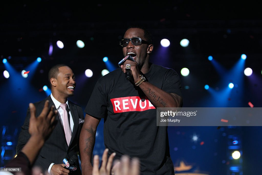 Rapper P.Diddy greets the crowd during the Sprint NBA All-Star Pregame Concert in Sprint Arena during the NBA All-Star Weekend on February 17, 2013 at the George R. Brown Convention Center in Houston, Texas.