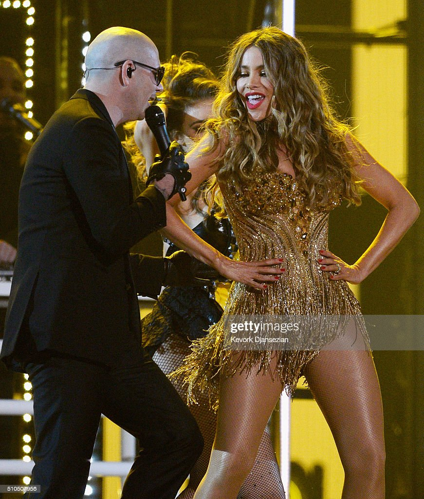 Rapper <a gi-track='captionPersonalityLinkClicked' href=/galleries/search?phrase=Pitbull+-+Rapper&family=editorial&specificpeople=206389 ng-click='$event.stopPropagation()'>Pitbull</a> (L) and actress <a gi-track='captionPersonalityLinkClicked' href=/galleries/search?phrase=Sofia+Vergara&family=editorial&specificpeople=214702 ng-click='$event.stopPropagation()'>Sofia Vergara</a> perform onstage during The 58th GRAMMY Awards at Staples Center on February 15, 2016 in Los Angeles, California.