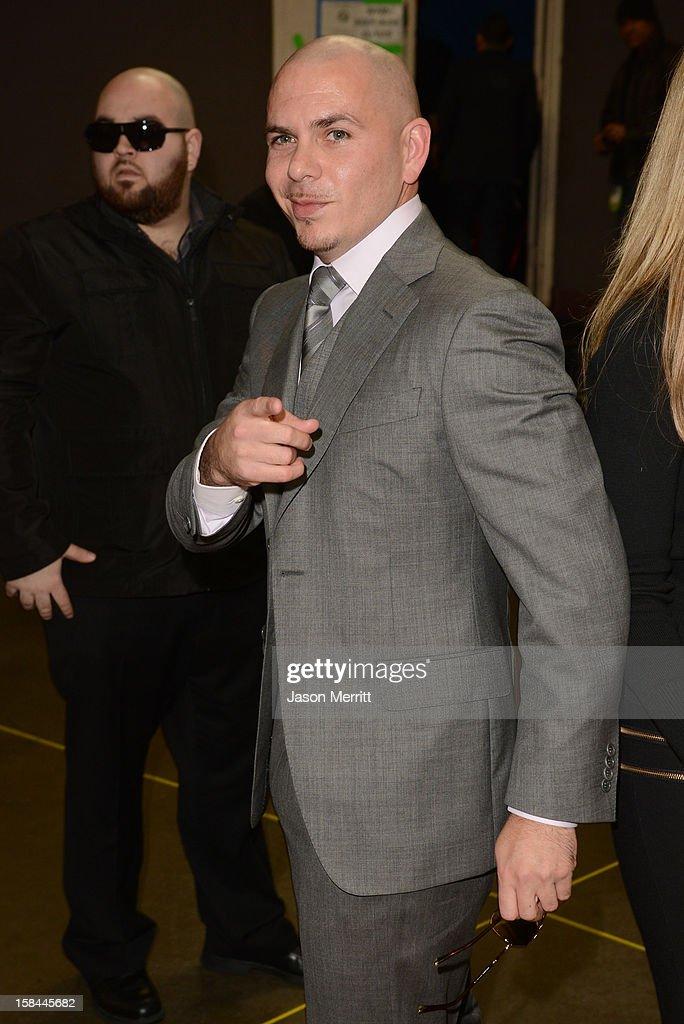 Rapper Pitbull attends 'VH1 Divas' 2012 held at The Shrine Auditorium on December 16, 2012 in Los Angeles, California.