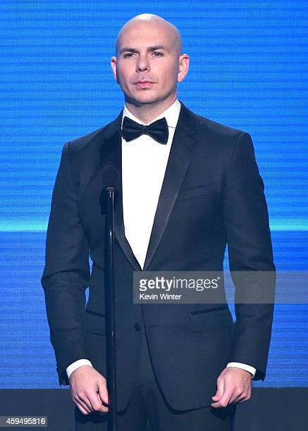 Rapper Pitbull onstage at the 2014 American Music Awards at Nokia Theatre LA Live on November 23 2014 in Los Angeles California