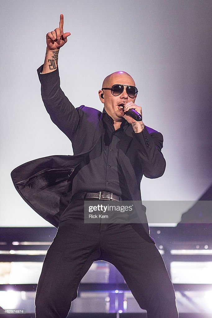 Rapper <a gi-track='captionPersonalityLinkClicked' href=/galleries/search?phrase=Pitbull+-+Rapper&family=editorial&specificpeople=206389 ng-click='$event.stopPropagation()'>Pitbull</a> performs in concert at The Frank Erwin Center on February 7, 2015 in Austin, Texas.